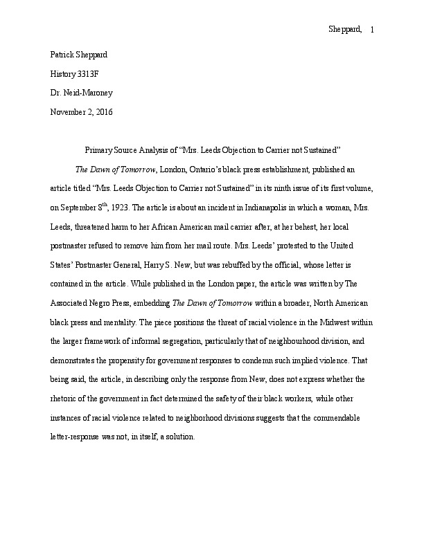 """Primary Source Analysis of """"Mrs. Leeds Objection to Carrier not Sustained"""""""
