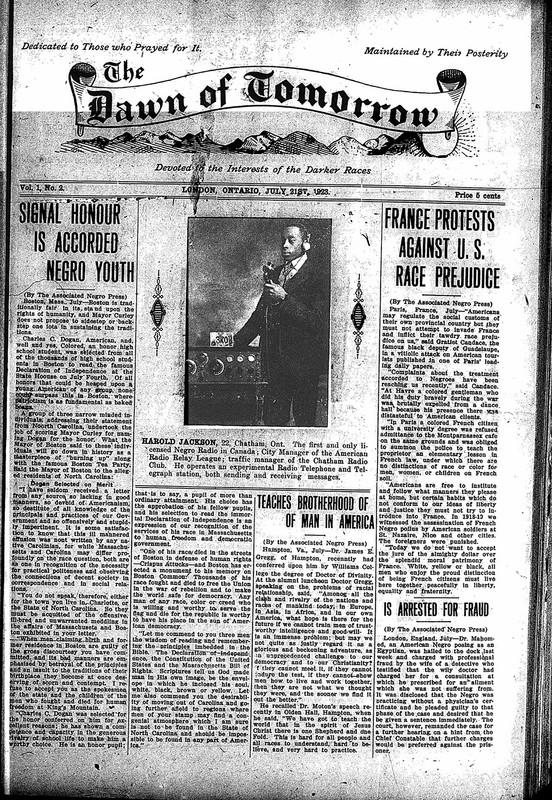 <em>The Dawn of Tomorrow</em>, 1923-07-21, vol. 1, no. 2